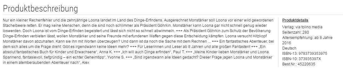 Altersangabe auf buecher.de