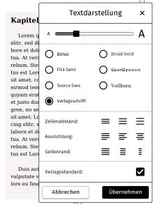 Die Schriftoptionen auf einem tolino E-Reader