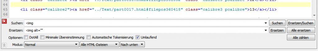 Über die Tastenkombination Strg+F kann unterhalb des Codes das Suchen-und-Ersetzen-Fenster eingeblendet werden, um sich wiederholende Fehler schnell im ganzen Epub zu korrigieren.