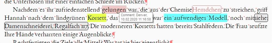 Inline-Kommentare bei Scrivener