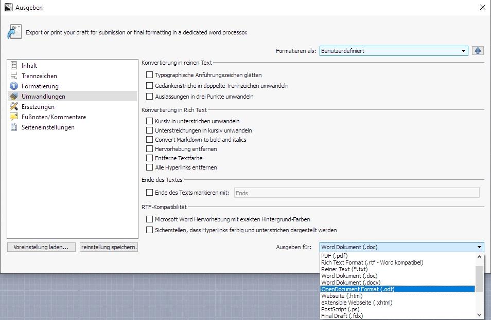 Bildausschnitt der Scrivener Exportfunktion