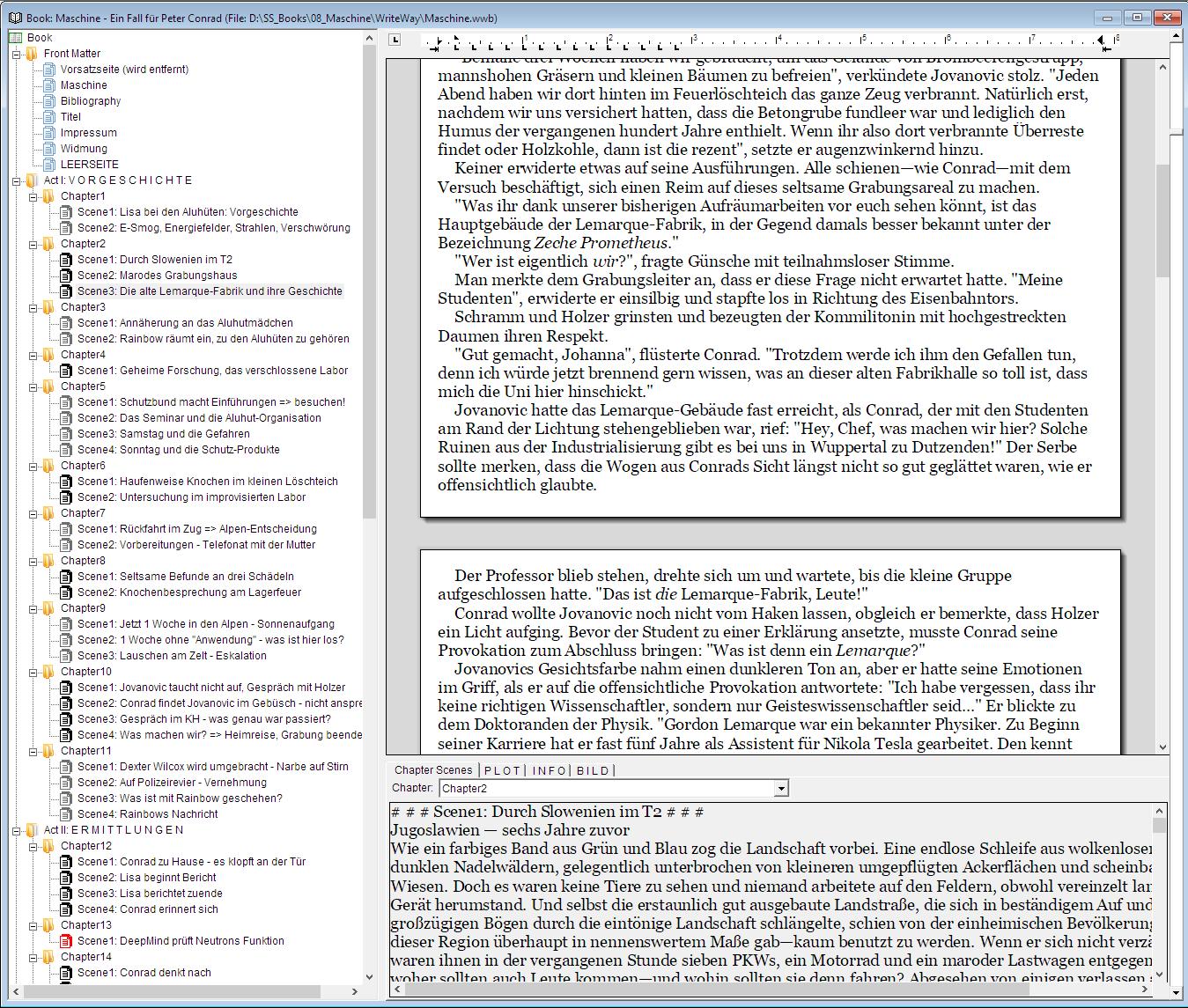 Das Hauptfenster von WriteWay mit Inhaltsverzeichnis, Texteditor und konfigurierbaren Info-Tabs.