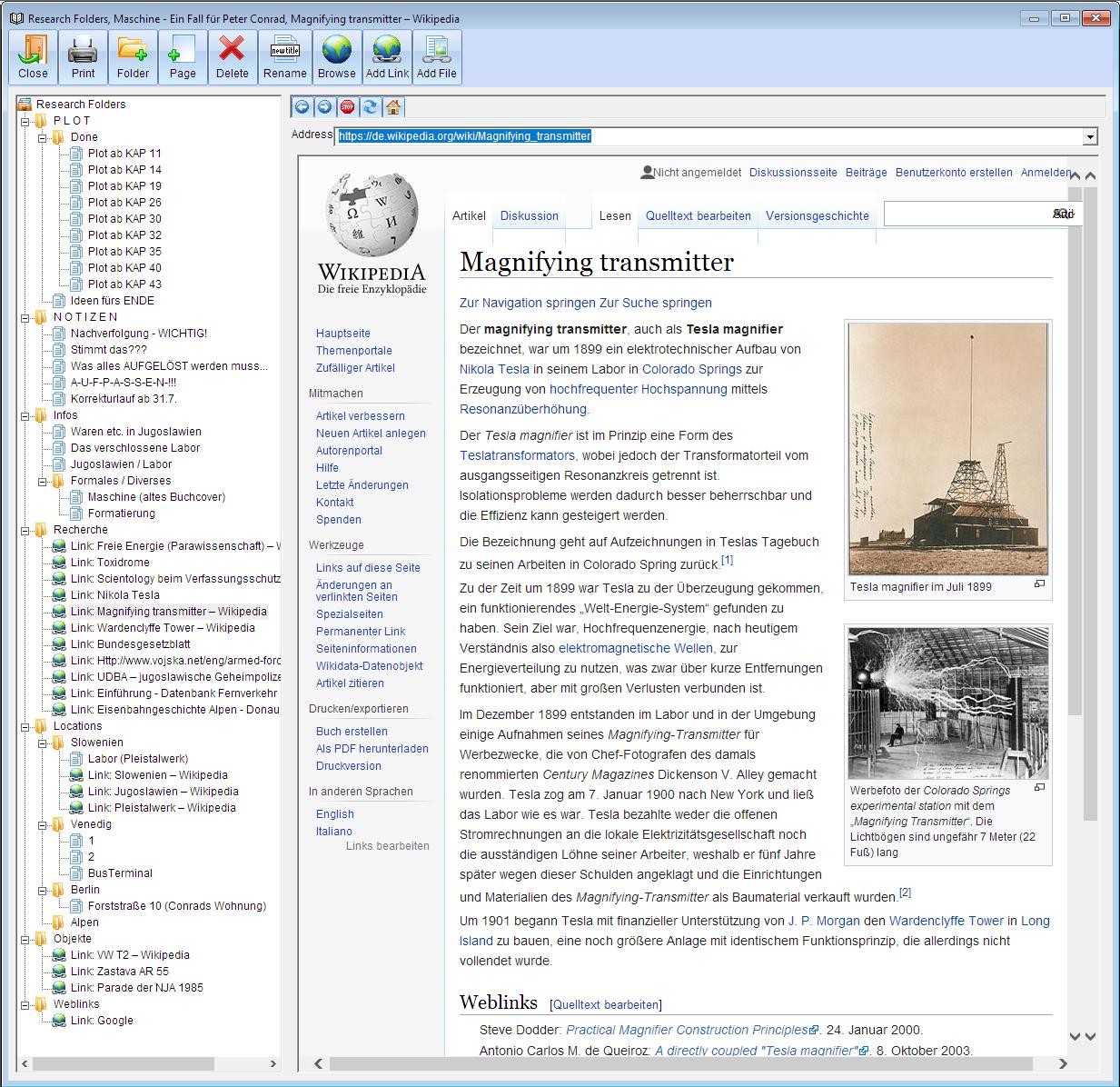 WriteWays Recherchefenster mit Browser und frei konfigurierbarem Rechercheverzeichnis