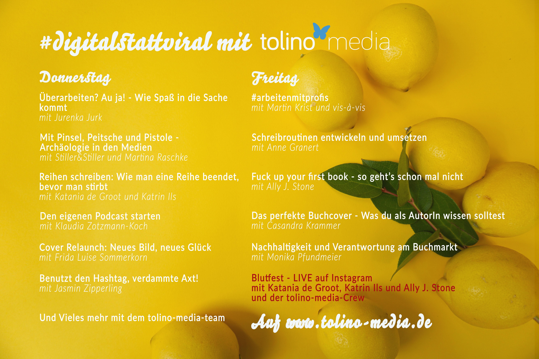 Programm unserer OnlineLBM auf gelbem Hintergrund mit Zitronen