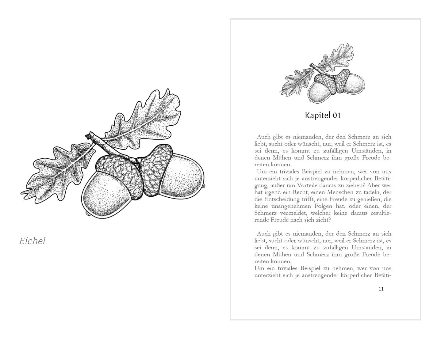 Weiteres Beispiel für Kapitelzierde mit Eicheln von Jonna Enders