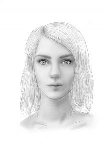 Portrait einer jungen Frau, gezeichnet von Jonna Enders