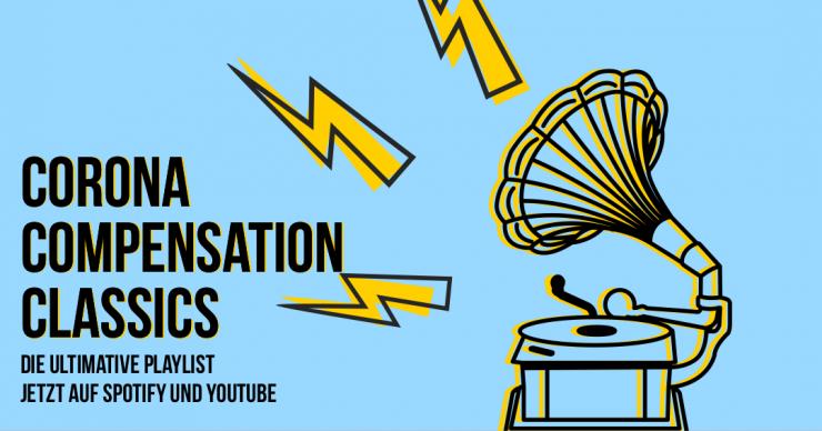 Playlist: Grammofon mit Blitzen auf hellblauem Hintergrund