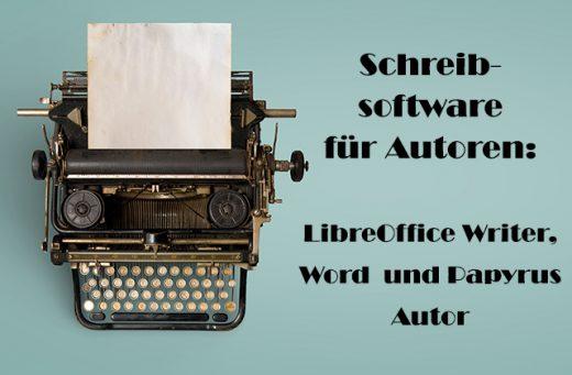 Schreibmaschine auf türkisem Hintergrund mit Titel des Beitrags