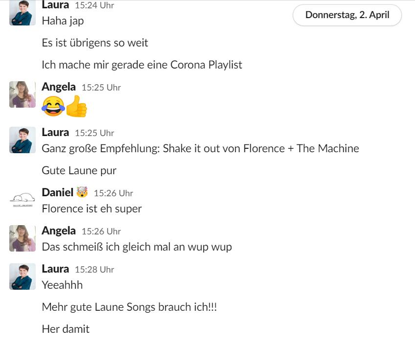 Konversation auf Slack zu gute Laune Songs zur Stimmungsaufhellung