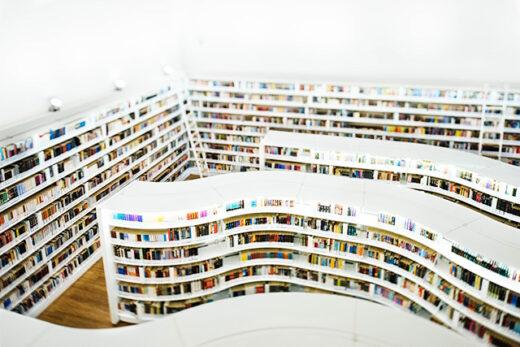 Blick auf eine Bibliothek von oben. Man erkennt viele Cover in geschwungenen Regalen.