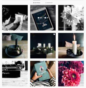 Der Instagram Feed von Charly Renk. Die Bilder zeigen sie beim Lesen von Büchern, Kerzen und einen E-Reader.