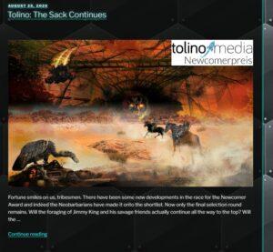 Man sieht einen Screenshot von Klotz van Ziegelsteins Homepage. Das Bild zeigt eine dystopische Szene der Zerstörung.