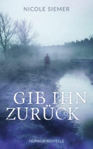 """Das Cover des Titels """"Gib ihn zurück"""" von Nicole Siemer. Es ist blau gehalten und zeigt eine Person in der Ferne, die an einem Gewässer steht. Die Szene wird durch Nebel abgerundet."""